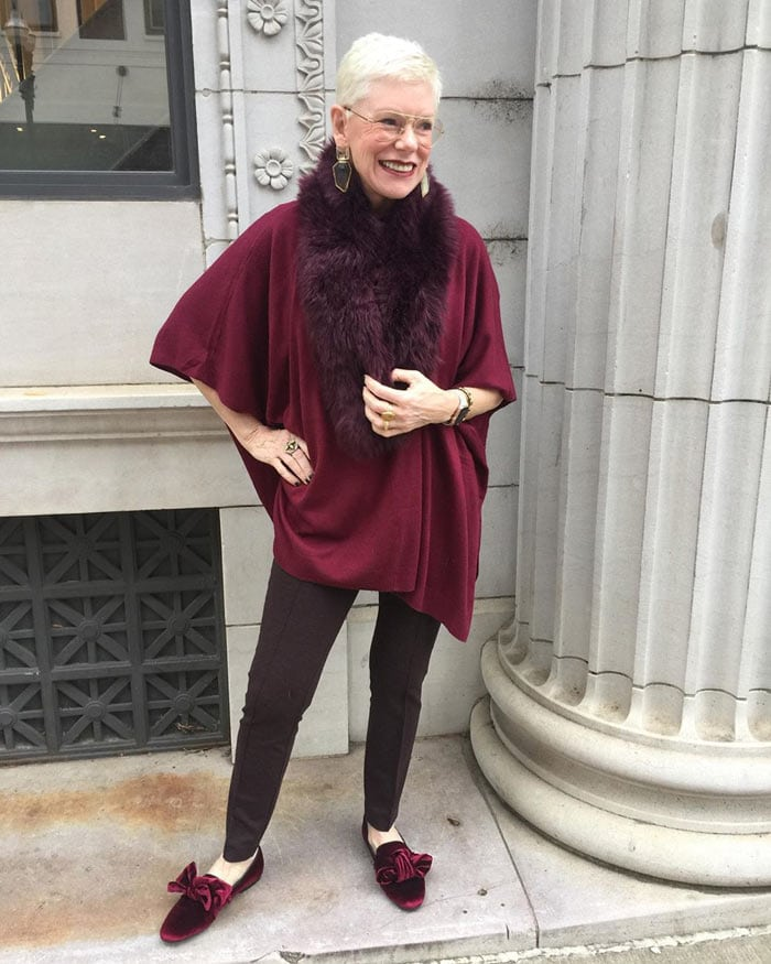 Jeanne wearing velvet low heel party shoes | 40plusstyle.com