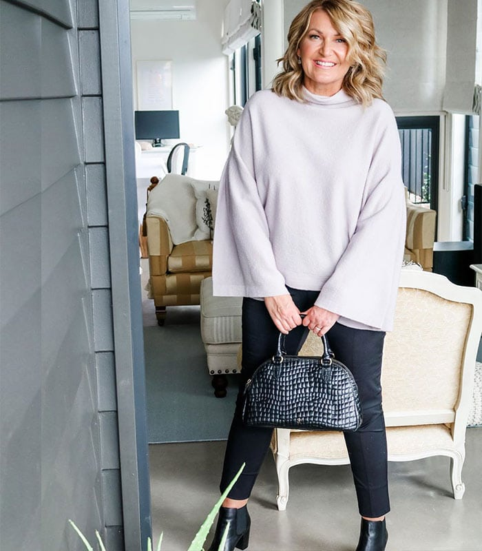 Bev wearing the perfect capsule wardrobe for winter   40plusstyle.com