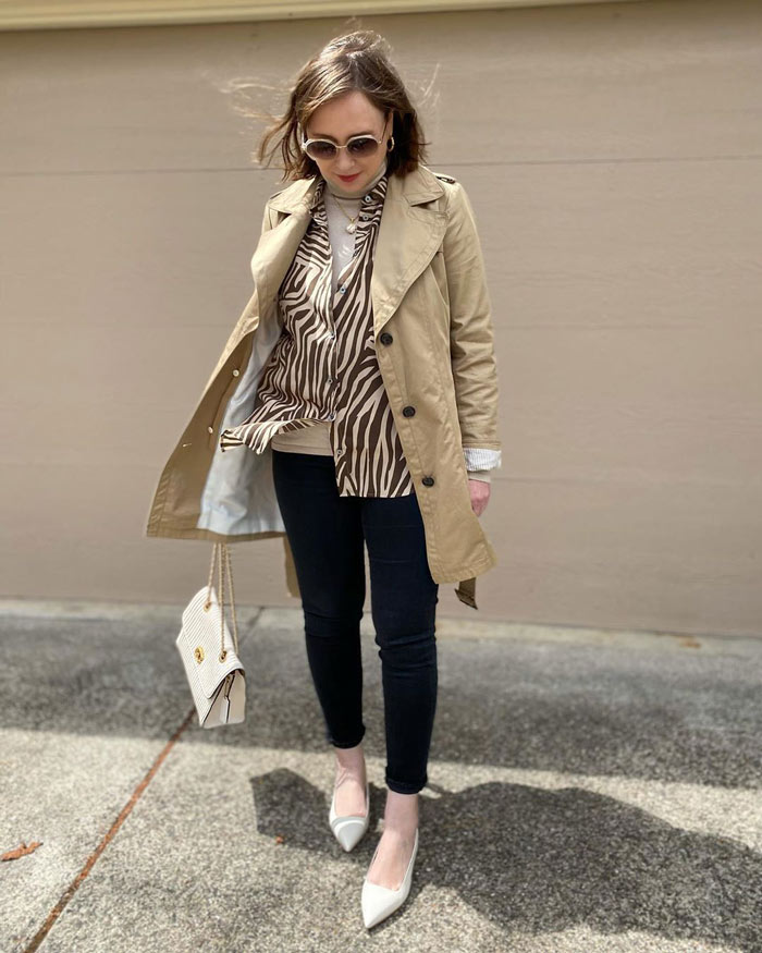Oxana layering her classic outfit | 40plusstyle.com