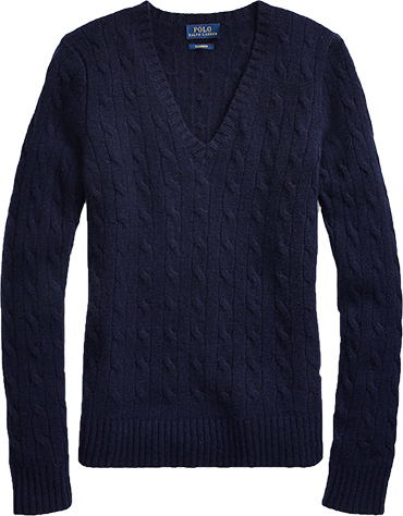 Polo Ralph Lauren cable cashmere sweater | 40plusstyle.com