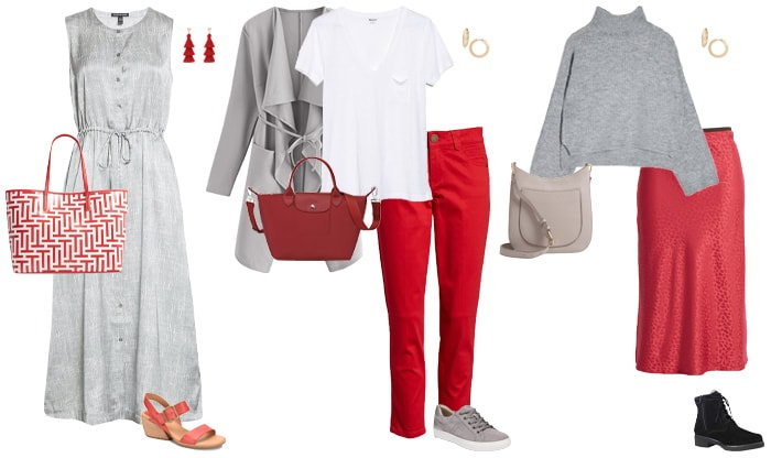 How to wear red and gray | 40plusstyle.com