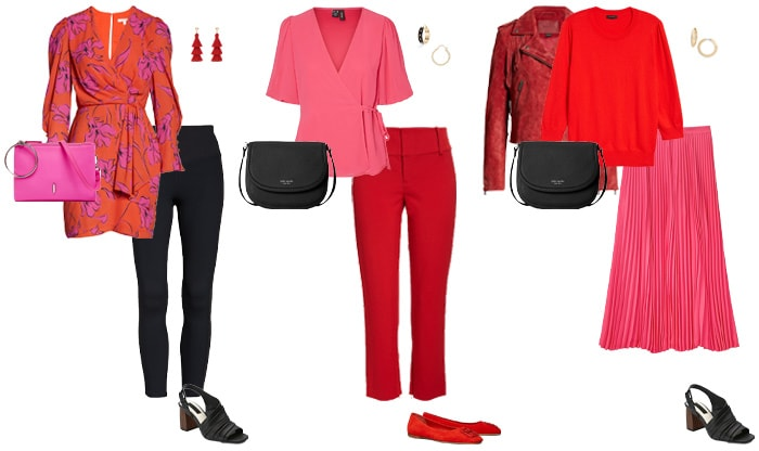 Red and shocking pink outfits | 40plusstyle.com
