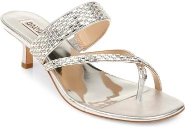 Badgley Mischka Collection 'Zena' embellished slide sandal   40plusstyle.com