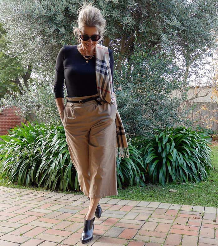 Balancing your look with a slim fitting top and wide legged pants   40plusstyle.com
