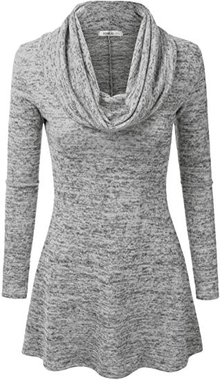 Doublju cowl neck a-line tunic sweater dress   40plusstyle.com