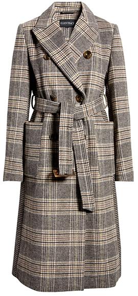 Ellen Tracy plaid belted coat | 40plusstyle.com
