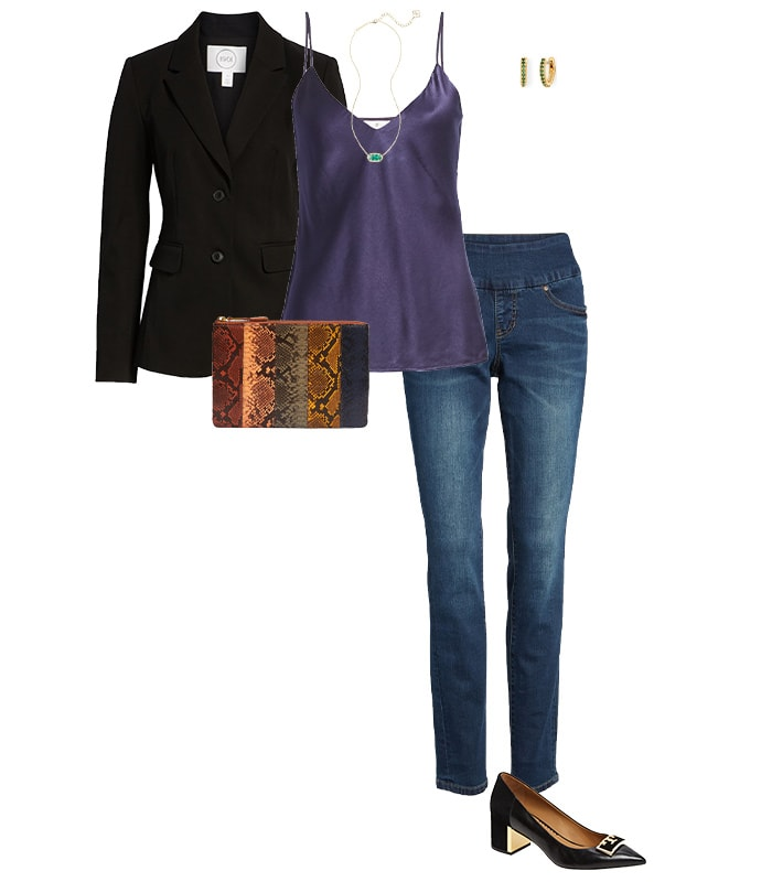 Casual party outfits - a blazer with jeans | 40plusstyle.com