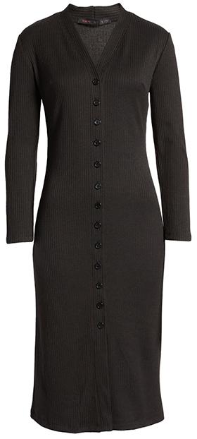 Fraiche by J button ribbed midi dress   40plusstyle.com