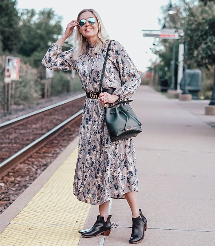 wearing booties with a dress