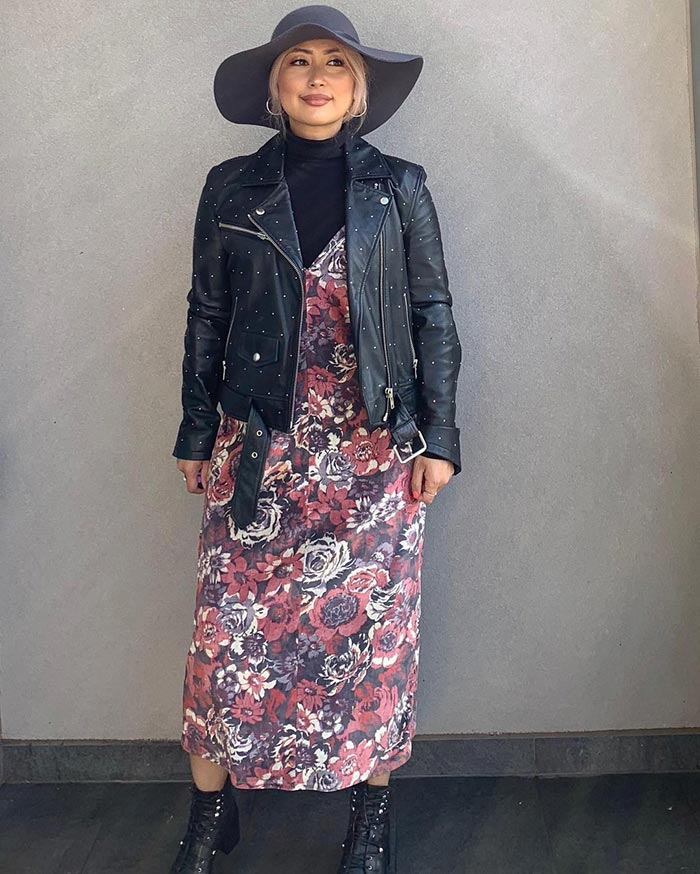 Casual party outfits - Jean wears a moto jacket and dress | 40plusstyle.com