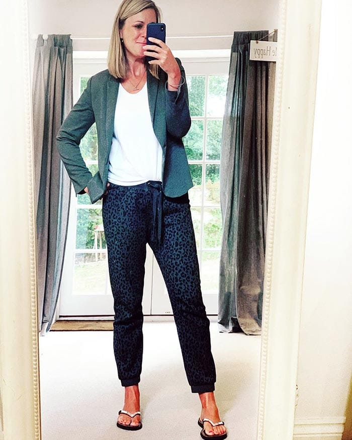 Kate wears a blazer and drawstring pants for working from home | 40plusstyle.com
