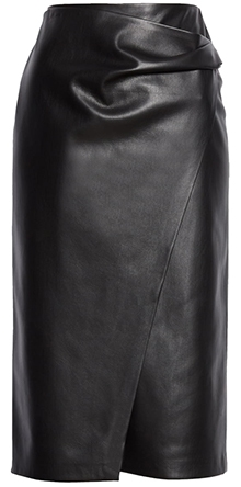 BOSS faux leather wrap front skirt | 40plusstyle.com