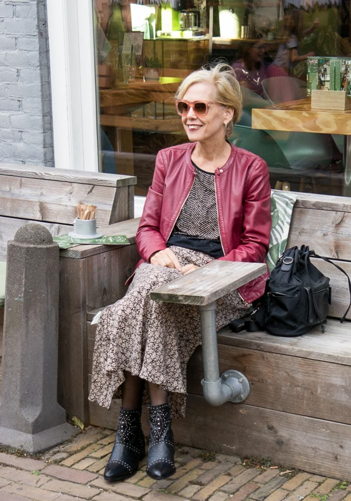 Stay fit and healthy - wearing Zara skirt with a leather jacket