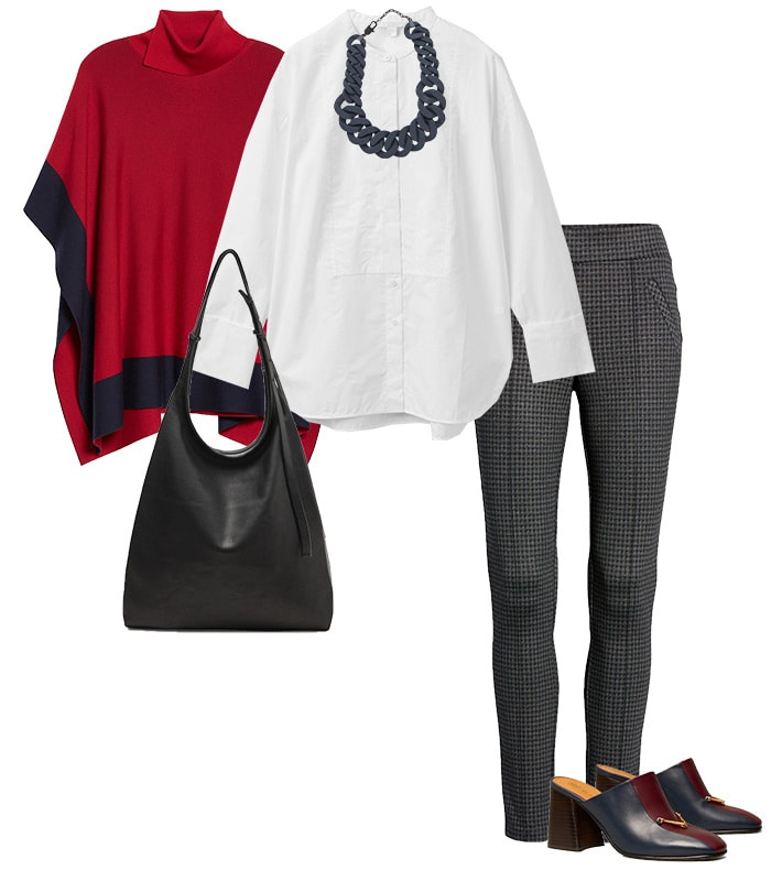 Poncho, shirt and leggings outfit | 40plusstyle.com