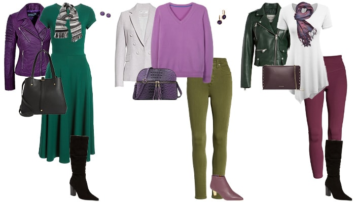 purple and green outfit inspiration | 40plusstyle.com
