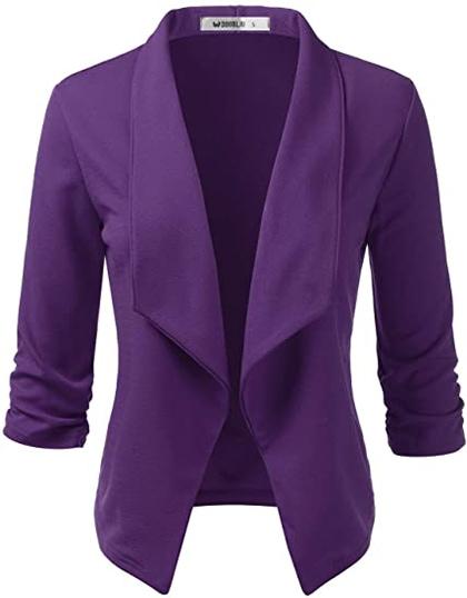 Doublju open front blazer jacket | 40plusstyle.com