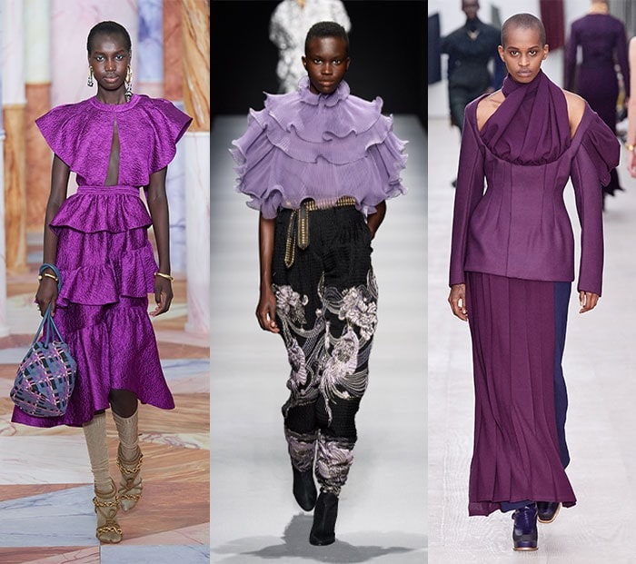 Purple outfits from the catwalks | 40plusstyle.com