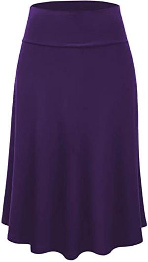 Lock and Love flare midi pull-on skirt | 40plusstyle.com