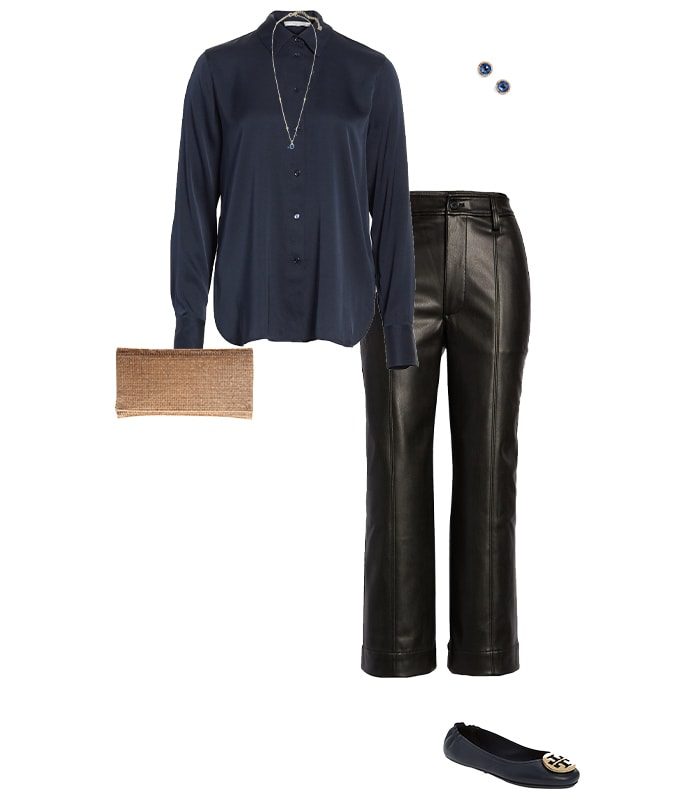 Leather pants and a silk shirt | 40plusstyle.com
