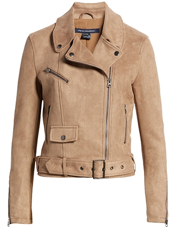 French Connection suedette moto jacket | 40plusstyle.com