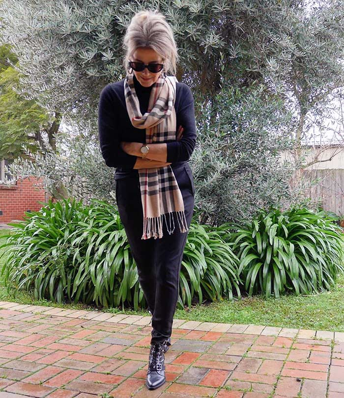 Winter wardrobe - Suzie wearing a neutral outfit with a check scarf   40plusstyle.com