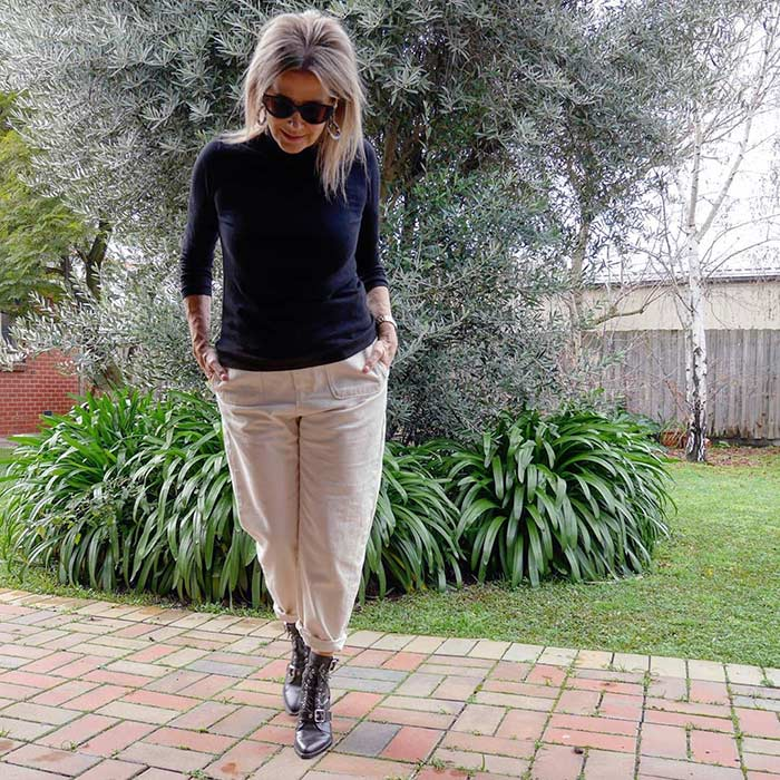Winter essentials - Suzie wears a turtleneck   40plusstyle.com