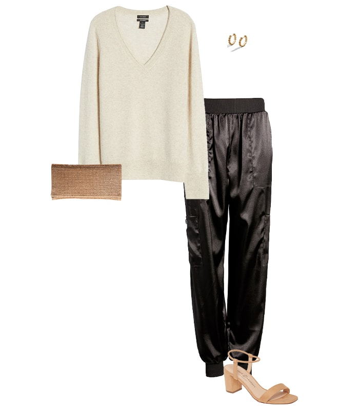 Satin pants and a sweater | 40plusstyle.com