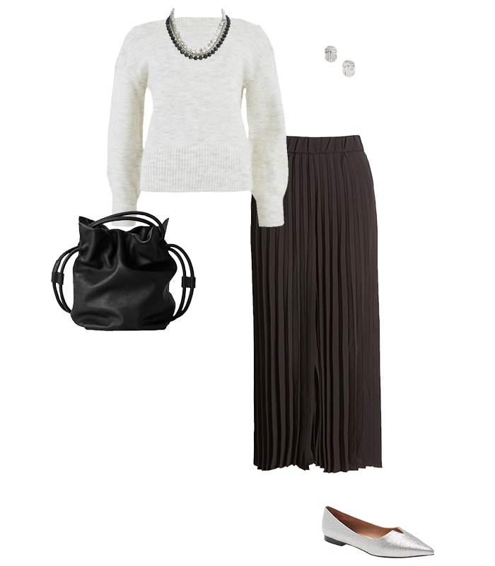 Wide-legged pants with a sweater | 40plusstyle.com
