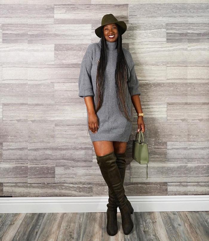 Tanasha wears a winter sweater dress   40plusstyle.com