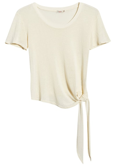 Work from home clothes - Faherty tie hem cotton blend T-shirt | 40plusstyle.com