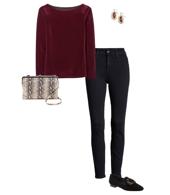 Thanksgiving outfits - jeans and a velvet top | 40plusstyle.com