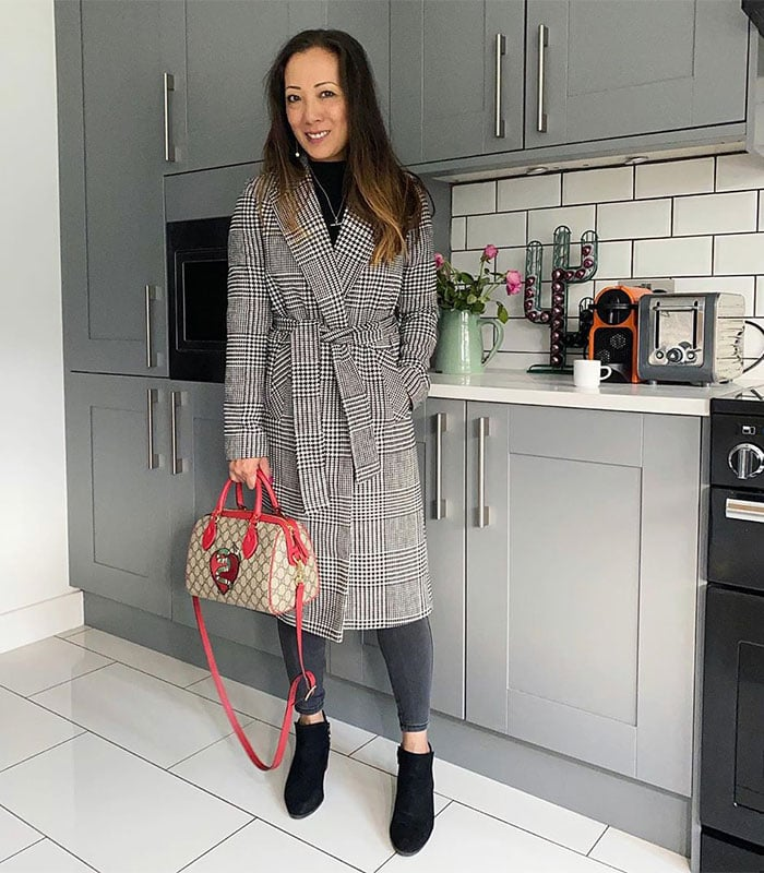 Winter essentials - Abi wears a checked coat | 40plusstyle.com