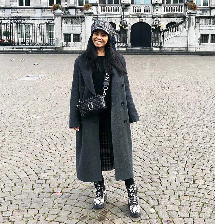 Winter capsule wardrobe - Silvana in a long coat and lace-up boots   40plusstyle.com