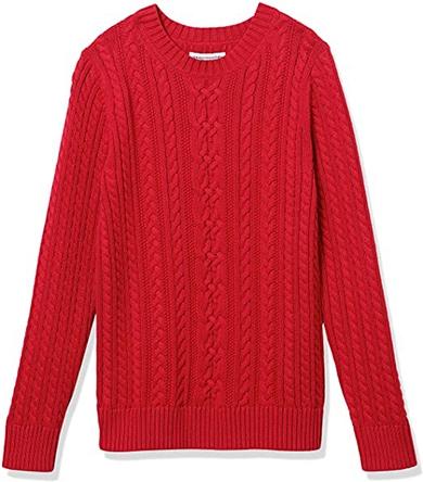 Amazon Essentials cable crewneck sweater | 40plusstyle.com