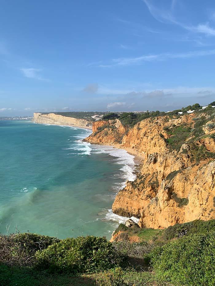 The Portuguese coastline in the Algarve.