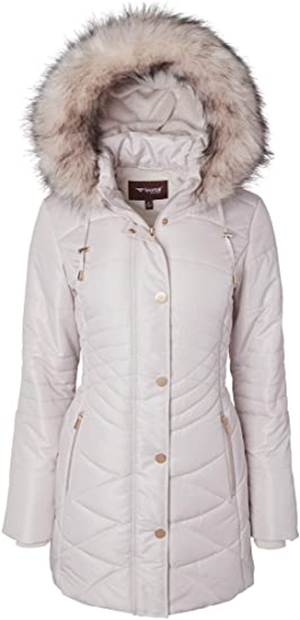Sportoli long plush lined quilted puffer | 40plusstyle.com