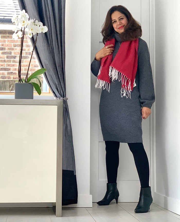 Anita wearing a sweater dress and booties | 40plusstyle.com