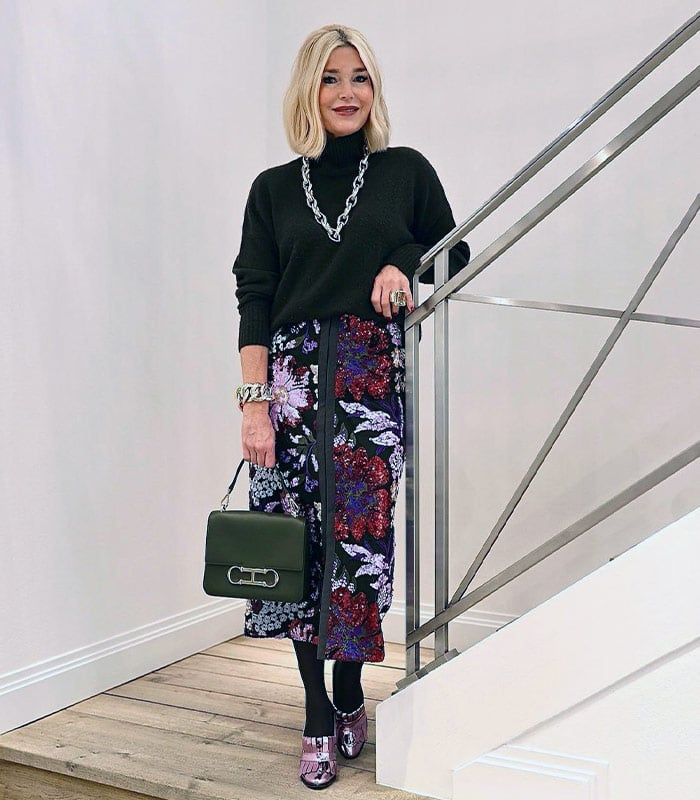 How to dress for a Christmas party - Petra in a sequin skirt   40plusstyle.com