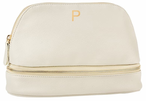 Meaningful gifts - Cathy's Concepts monogram leather cosmetics case | 40plusstyle.com