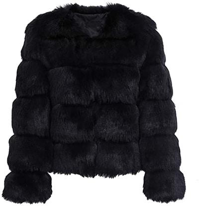 Simplee Women faux fur jacket | 40plusstyle.com