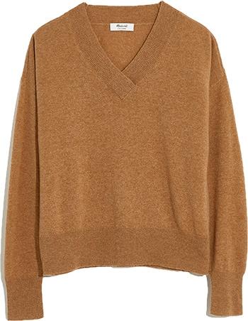 Madewell cashmere V-Neck sweater | 40plusstyle.com