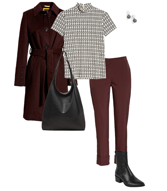 A burgundy outfit for Thanksgiving | 40plusstyle.com