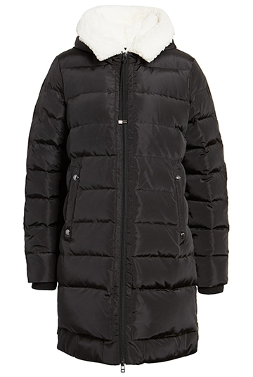 Sam Edelman puffer coat with faux shearling lined hood | 40plusstyle.com