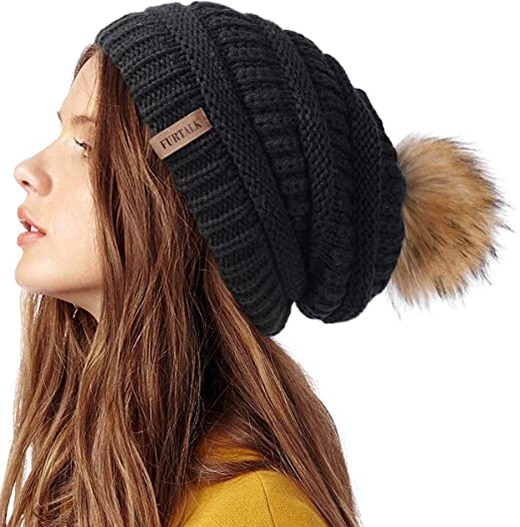 FURTALK winter knit slouchy beanie   40plusstyle.com
