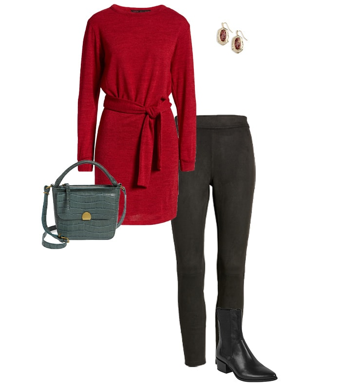 A sweater dress outfit with leggings and booties | 40plusstyle.com