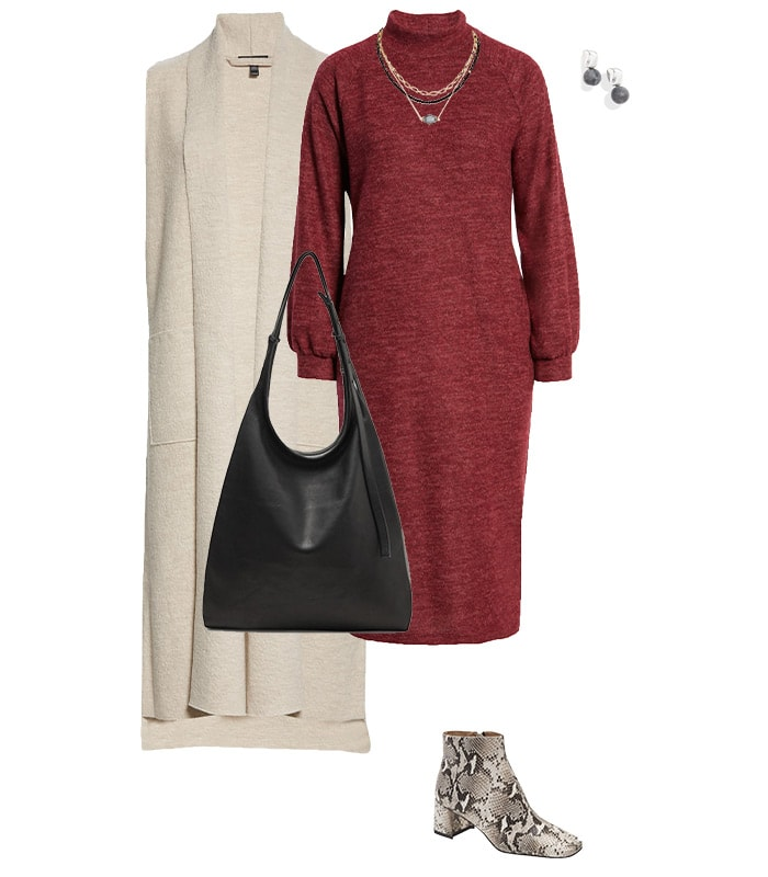 Sweater dress and long vest outfit | 40plusstyle.com