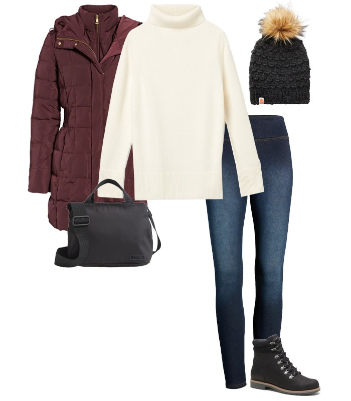 Puffa jacket, jeans and boots outfit | 40plusstyle.com