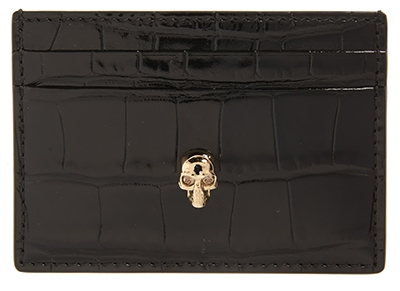 Alexander McQueen croc embossed leather card holder   40plusstyle.com