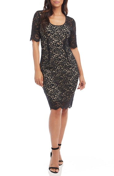 Karen Kane lace sheath dress   40plusstyle.com