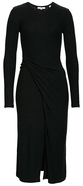 Vince drape long sleeve midi dress   40plusstyle.com